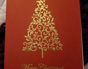Christmas Tree Card on Red
