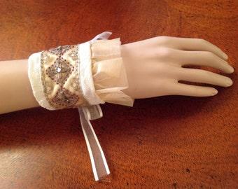 Fabric Wrist Cuff/Vintage Upcycled Wrist Cuff, Beaded Cuff, Cream Ruffle Cuff