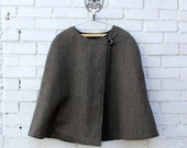 Womens cape. Herringbone wool cape,brown and black cashmere. Classy and elegant, fully lined.  Available Size S-M-L-XL . Wife gift. Womens.