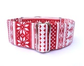 "Alpine Fair Isle Dog Collar - 1"" or 1.5"" Adjustable Red and White Fair Isle and Winter Snowflake Buckle Collar or Martingale Dog Collar"