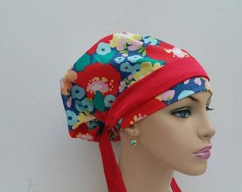 Handmade Woman Surgical Scrub Cap - Garden of Poppies- 100 % cotton