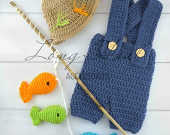 Photography Prop, Baby Boy, Crochet Fish, Baby Boy Outfit, Fisherman Outfit, Baby Clothes, Boy Clothes, Baby Fisherman, Crochet Fisherman