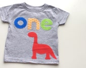 Dinosaur First Birthday Shirt Boys Shirt One or bodysuit white blue gift photo prop modern