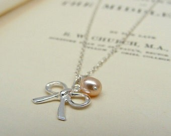 Sterling Silver Bow And Pearl Charm Necklace