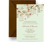 Mint Birdcage Girls Baby Shower Invitation Rustic Floral Printable DIY Sprinkle Invites Feather Her Nest Party Personalized Printed (MBS1)
