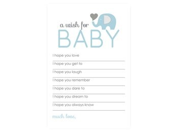 Elephant Wishes for Baby Boy Shower Game Set - Boys Advice Card - Printed Activity - Blue & Grey - Set of 20 - 4 x 6 Size
