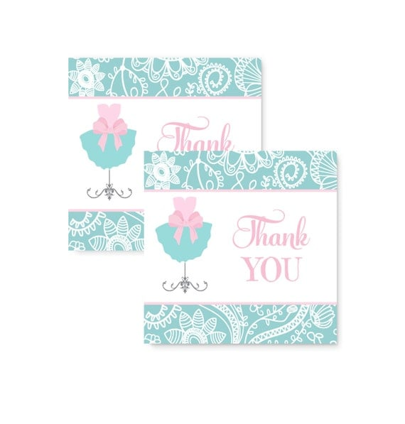 Tutu Party Favor Tags Pink & Mint, Girls Baby Shower Printable Labels, Gift Tags, Damask Favor Tag, Princess Labels, Tutu Cute Tag (PINKTTU)