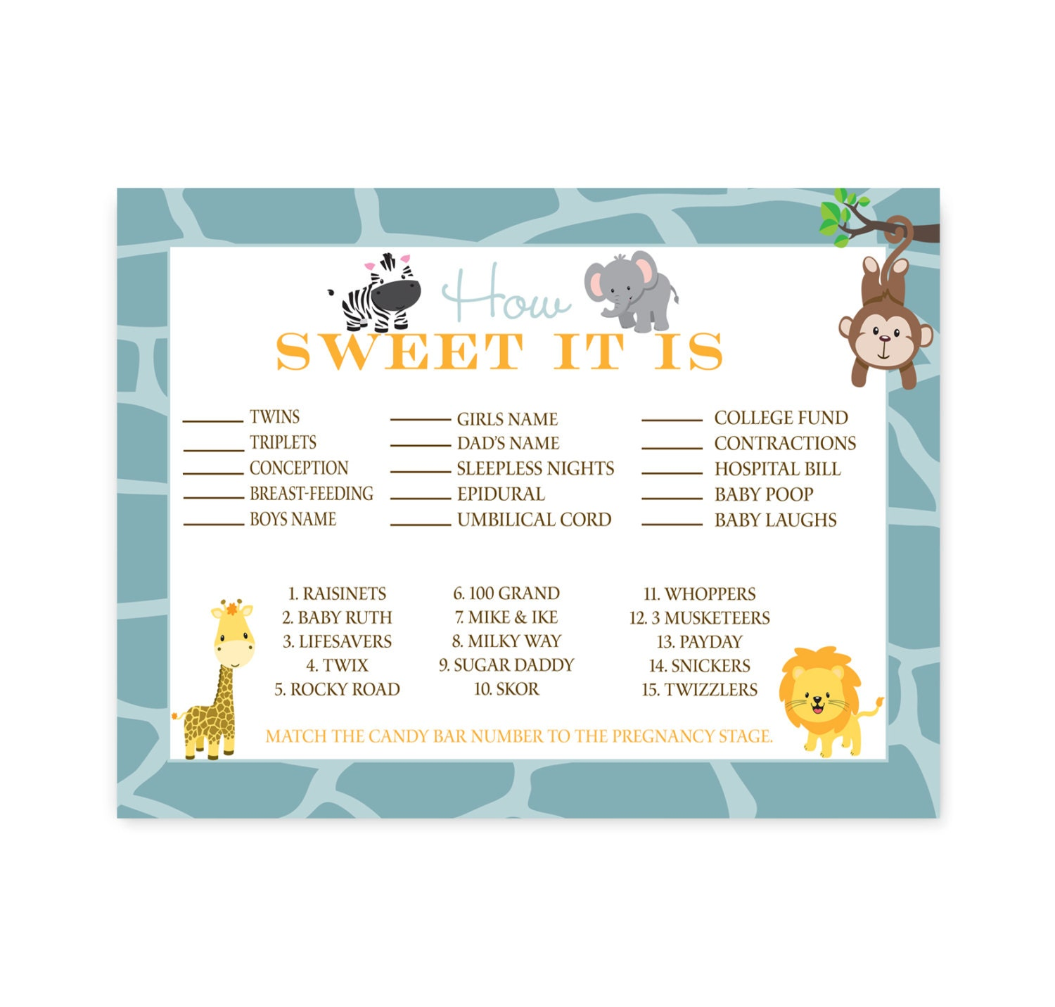 jungle how sweet it is baby shower game instant download