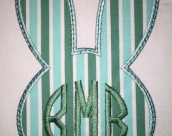 Toddler Easter Bunny Applique with Personalized Monogram Short or Long Sleeve Shirt