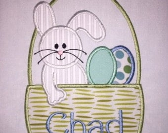 Youth Easter Basket Bunny Eggs Applique  Short or Long Sleeve Shirt with Embroidered Personalized Name