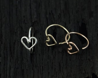 Love heart nose hoop, Valentines nose hoop/nose ring/tragus
