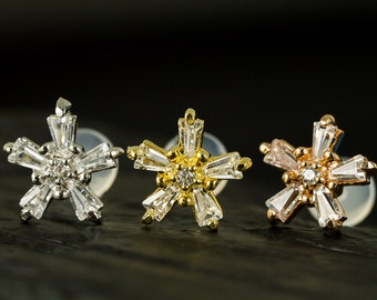 Sparkling STAR push in 16g bio flexible Helix earring / cartilage earring / conch earring