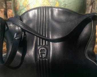 80s ETIENNE AIGNER BLACK Leather Crossbody Handbag with Wave Edge