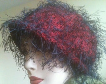 AVANT GARDE Flapper Art Deco Look Hat Red Purple Black String Feather Cap Vintage