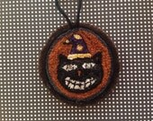 Primitive punch needle Halloween cat ornament