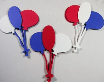 12 Balloon Embellishments, Patriotic Scrapbook Embellishments, 4th of July, Card topper, Military, Verterans Day, Red White & Blue