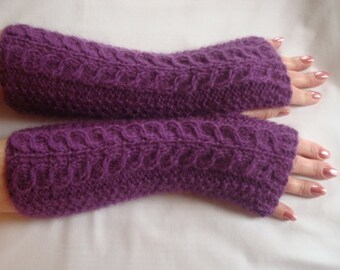 Fingerless Gloves Mittens Knit  Alpaca Long Arm  Warmers Gift Purple Cable Arm/Wrist Warmers Soft Warm Women's  Fingerless Gloves.