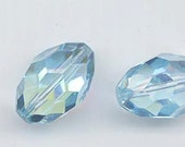 Two vintage Swarovski crystal beads of uncommon beauty and rarity: Art. 46 - 14 x 21 mm - aquamarine aurore boreale