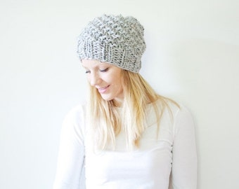 SUMMER SALE the ICARD hat - spiral chunky knit hat womens slouchy hat beanie - marble