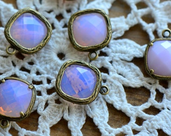 Square Jewel Charms PINK OPAL Colored Glass Drop Gem Jewels Square 12mm Antique Bronze Plated Brass Bezel Bright Pink ()