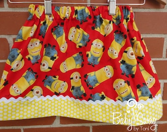 Girls Minions Skirt, Minions, Skirt, Made to order 12 month, 18 month, 2t, 3t, 4t, 5t, 6, 8