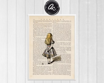 Alice by Tenniel Vintage Illustrated Print on an Unframed Upcycled Bookpage