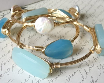 "Set of 3 Aqua Blue Chalcedony and Pearl Bangles ""Bourbon and Bowties"" Inspired Bangles"