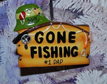 Personalized Gone Fishing Christmas Ornament