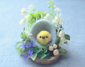 Easter egg & chick decoration, miniature garden diorama, needle felt chick in egg diorama ornament, lily of the valley flower, gift under 30