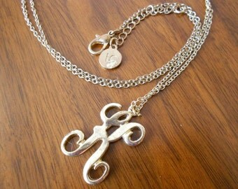 Vintage initial necklace.  K initial.  Long necklace.