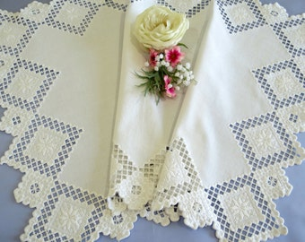 White Table Runner, Embroidered Dresser Scarf, White on White, Side Board or Buffet Runner, Table Linens, Vintage Linens by TheSweetBasil