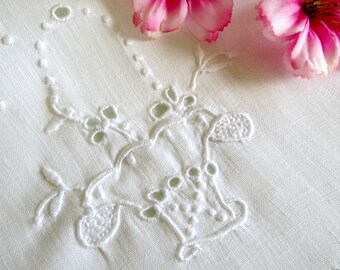 3 Madeira Embroidered Doilies, White on White, Rectangular Doilies, Flower Basket Design, Old World Charm, Vintage Linens By TheSweetBasil