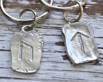 Celtic Rune Keychain, choice of silver or oxidized silver Rune Key Chain, Talisman Keyring, Viking Rune Symbols, Viking Celtic Rune Keychain