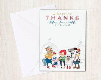Hipster Farm Animals Thank You Note - Barn Animals Thank You Card - party supplies