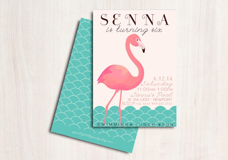 FLAMINGO Pool Party Birthday Invite Flamingo Party – Flamingo Birthday Invitations