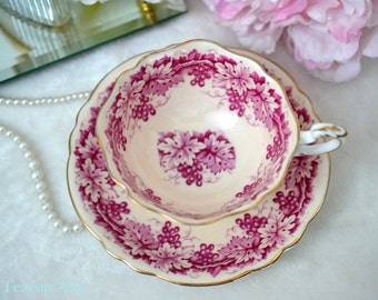 ON SALE Paragon Pink Teacup and Saucer With Pink Leaves, English Bone China Tea Cup And Saucer Set, ca. 1957-1960