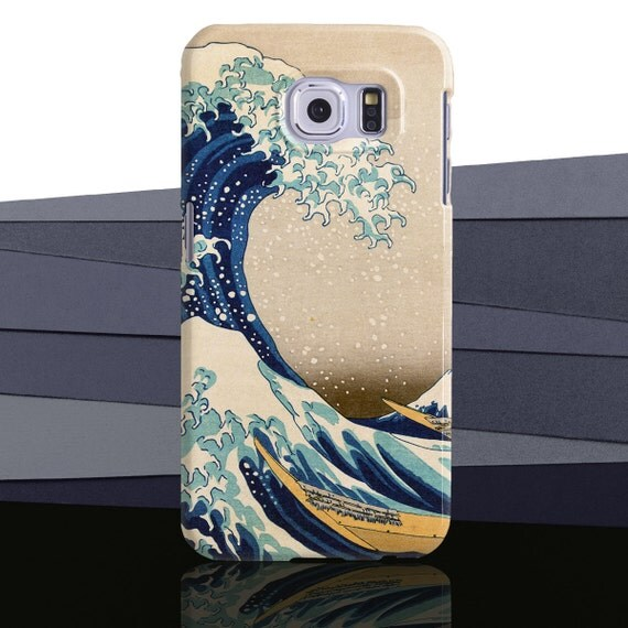 The Great Wave off Kanagawa by Hokusai. Detail of iconic print. Available for iPhone and Samsung Galaxy Phone case