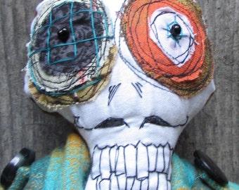 Turquoise Plaid skeleton handmade ooak art doll