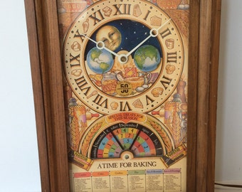 """Vintage Nestle Toll House Cookies 50th Anniversary Wall Clock With Moon Phase Dial and Baking Calendar """"A Time For Baking"""" 1979"""