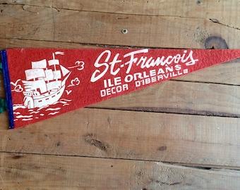 Vintage Souvenir Pennant Vintage Felt Pennant St. Francois Ile Orleans Decor D'Iberville Tourist Souvenir
