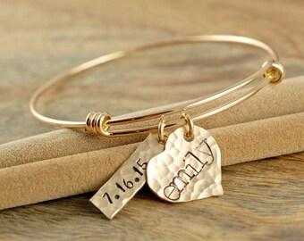 Name Bracelet, Hand Stamped Jewelry, Gold Bangle Bracelet, Heart Charm Bracelet, Date Bracelet, Anniversary Date Bracelets - Wedding Date