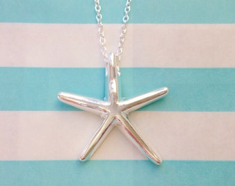 silver starfish necklace , bridesmaid necklaces , starfish necklaces , beach wedding  , bridesmaid gift