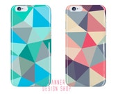 Triangles iphone 6 case protective iphone 6 plus case geometric pattern iphone 6s caseteal blue samsung s6 case pastel colors galaxy s7 edge