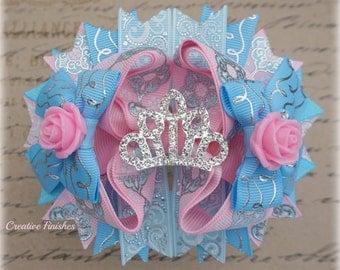 Sleeping Beauty Hair Bow, Aurora Tiara, Pink Blue Princess Bow
