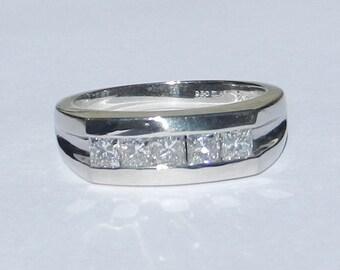 Men's 1.00 Carat Five Stone Diamond Ring Platinum Band W/ Appraisal