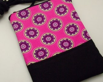 Cell phone bag / Smart phone bag / Shoulder purse / Crossbody bag ~ Hot pink with flower pattern (D-13)