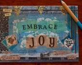Joy Blank Greeting Card Inspirational Mixed Media Art Print Note Card Stationery Paper Goods Blue Green