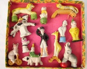 rare,antique,painted ceramic/bisque,full 12 piece circus set-1930's boxed cake toppers ? German or French