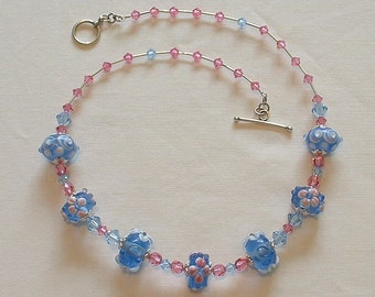 Pink and Blue Lampwork Necklace