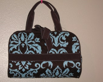 Personalized 3PIECE BROWN & TEAL damask Cosmetic makeup Case